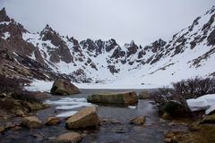 A nearly frozen lake amidst mountains Royalty Free Stock Image