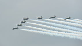 Aerobatics formation by Breitling Jet Team in Singapore Royalty Free Stock Photo