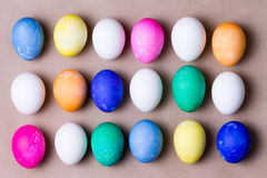 Neat arrangement of colorful dyed Easter eggs Stock Images