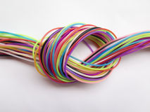 Neat background with numerous ropes form a color node Royalty Free Stock Images