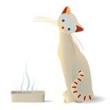 Neat cat near a litter box. Neat sad cat near a smelly litter box Stock Photography