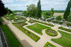 Neat French castle garden. Grand gardens at Chateau d Usse, France Stock Images