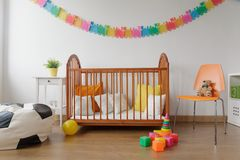 Neat furnished baby room royalty free stock photo