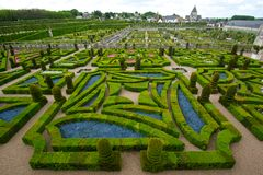 Neat garden at a french chateau Royalty Free Stock Image