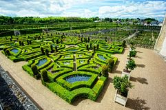 Neat garden at a french chateau. Grand gardens at Chateau de Villandry, France Royalty Free Stock Photo