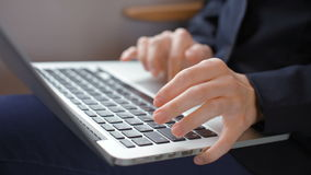 Neat Hands of Business Lady are Typing Text on Laptop during Journey by Train stock footage
