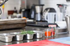 Neat interior of a commercial kitchen Royalty Free Stock Photography
