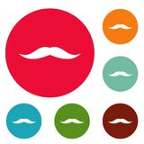 Neat mustache icons circle set vector. Isolated on white background Stock Image
