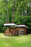 Neat and orderly stacks of cut wood,under cover of sheds Royalty Free Stock Photography