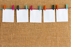 Neat row of hanging blank white notepads royalty free stock photography