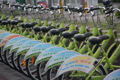 Neat rows of bicycles in SHENZHEN Stock Photos