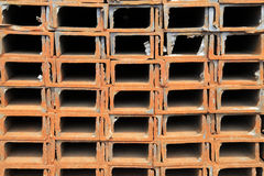 Neat rows of channel steel Royalty Free Stock Photos