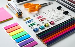 Free Neat School Stationary On White Background Royalty Free Stock Images - 123217949