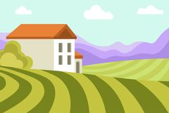 Neat small house among wide green fields and high mountains. Neat small house among wide green fields, thick bushes, blue sky with fluffy clouds and high Stock Photography