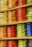 Neat stacks of folded clothing Stock Photo