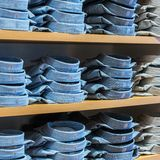 Neat stacks of folded clothing Royalty Free Stock Photos