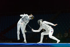 Neat trick of one of athletes on championship of world in fencing Royalty Free Stock Photos
