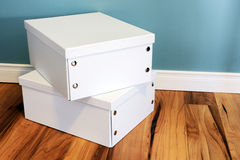 Neat white boxes Stock Photography