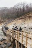 Neat wooden walk way at Noboribetsu Jigokudani Hell Valley: The volcano valley got its name from the sulfuric smell. Neat wooden walk way at Noboribetsu royalty free stock image