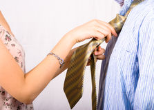 Neaten the tie Royalty Free Stock Images