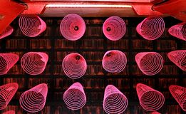 Neatly arranged incense sticks in chinese temple royalty free stock images