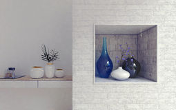 Neatly arranged vases on stone shelves. Neatly arranged round ceramic vases and holders with plants sitting on white marble and brick shelves in room. 3d Stock Photos