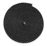 Neatly coiled braided plaited black rope Stock Photos