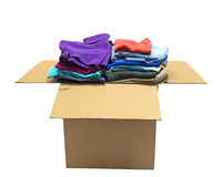 Neatly Folded Clothes In Big Box Isolated Stock Photos
