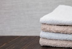 Neatly folded towels Stock Photo