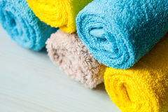 Neatly folded towels Stock Photo