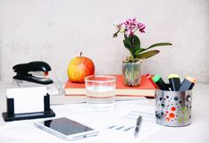 A neatly and lively decorated office desk. Neatly and lively decorated office desk, just like a home office Royalty Free Stock Image
