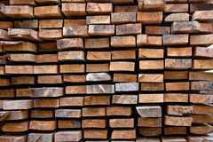 Neatly stacked boards Stock Photo