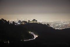 Nebbia del centro di notte di Los Angeles Immagine Stock