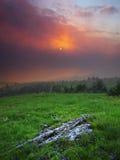 Nebbia del tramonto Fotografie Stock