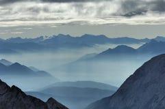 Nebbia della valle dallo Zugspitze 02 Fotografie Stock