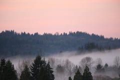 Nebbia di alba dell'alta montagna Immagini Stock Libere da Diritti