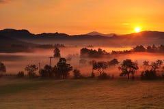 Nebbia di autunno Fotografie Stock