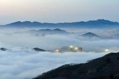 Nebbia di avvezione Fotografia Stock