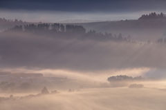 Nebbia di mattina in alpi Immagine Stock