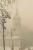 Nebbia di mattina nella città Immagine Stock Libera da Diritti