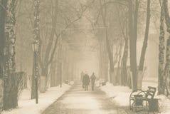 Nebbia di mattina nella città Fotografie Stock