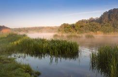 Nebbia di mattina sopra il fiume Fotografie Stock Libere da Diritti