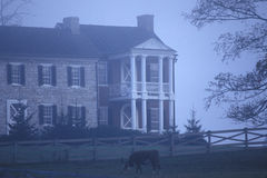 Nebbia di mattina sopra la residenza lungo l'itinerario scenico 219, WV degli Stati Uniti della strada principale Immagini Stock Libere da Diritti