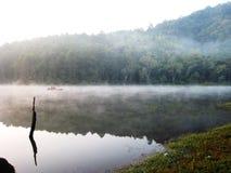 Nebbia di mattina sul lago Immagine Stock