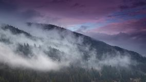 Nebbia di mattina in valle della montagna Colline nebbiose archivi video