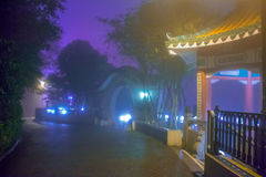 Nebbia di notte nel parco di Hong Kong City Immagini Stock Libere da Diritti