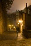 Nebbia di Praga di notte Fotografia Stock