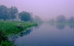 Nebbia di primo mattino sul lago Stagno nebbioso con le riflessioni dell'acqua Posto abbandonato, bella vista del parco fotografia stock