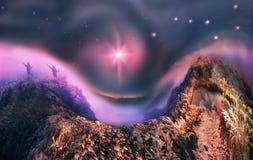 Nebbia mistica illuminata Fotografia Stock Libera da Diritti