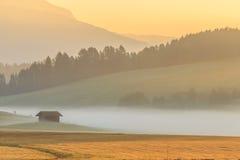 Nebbia nelle alpi, dolomia, Italia di mattina Immagine Stock